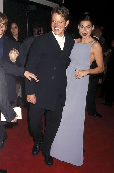 Actor Matt Damon and actress Minnie Driver attend the 'Good Will Hunting' Westwood Premiere on December 2, 1997.
