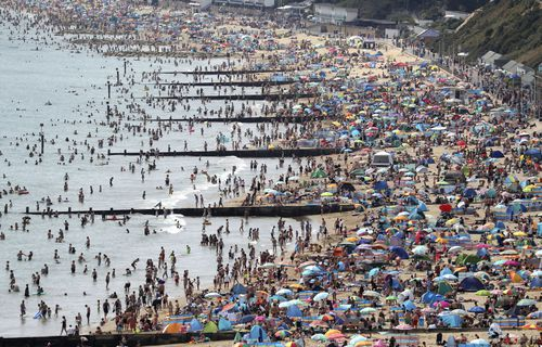 Thousands of people in the UK flocked to the beach last weekend during a heatwave.