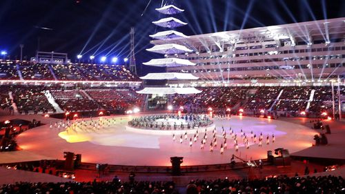 In his wrap-up speech at the closing ceremony of the Pyeongchang Games, Bach praised athletes from the divided Koreas for showing that sport brings peoples together and builds bridges. (AAP)