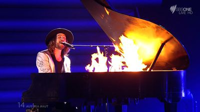 Austria's flaming piano was a huge crowd pleaser. (SBS)