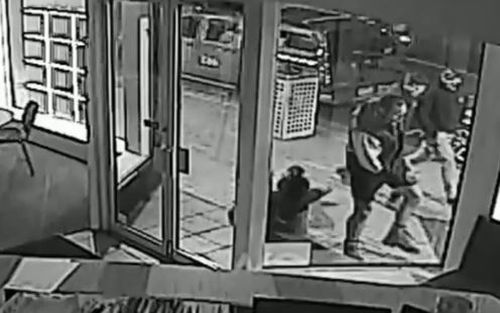 Footage captured outside a business allegedly shows the 43-year-old victim walking towards Mr Wells with his eyes down and his hands in his pockets. Picture: Supplied