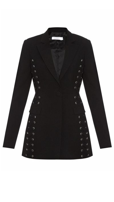 "<a href=""http://www.matchesfashion.com/au/products/1019154"" target=""_blank"">Merrie Lace-Up Crepe Blazer, $1,999, Altuzarra</a>"