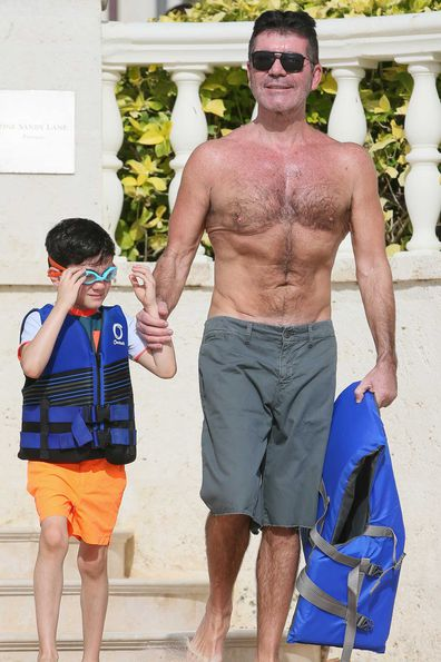 Simon Cowell on holiday with his son Eric.