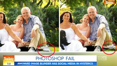 The two versions of the photos that appeared on Mr Morrison's website.