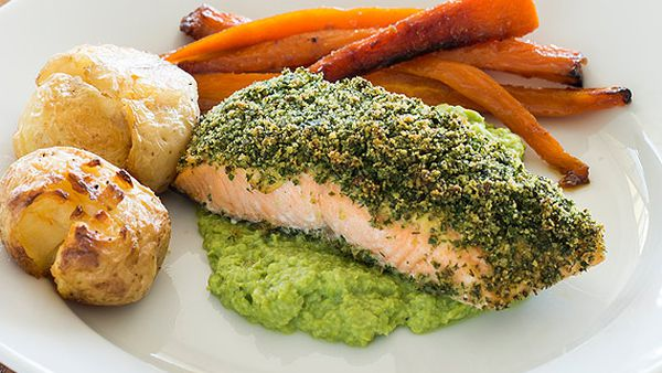 Lyndey Milan's herb-crusted salmon with pea puree, smashed potatoes and carrots