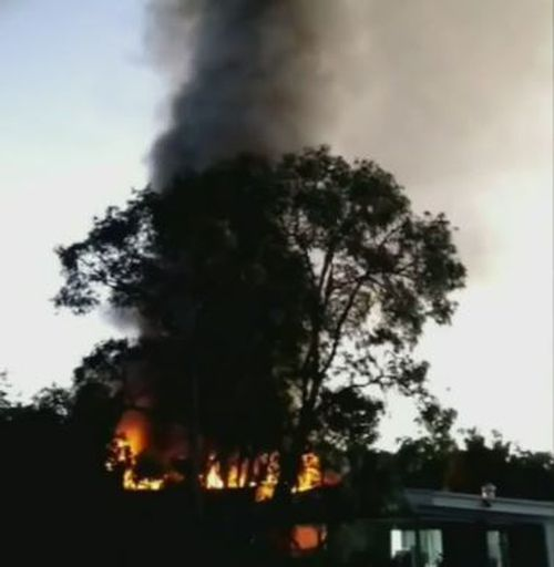The fire caused massive plumes of smoke to reach into the sky. (9NEWS)