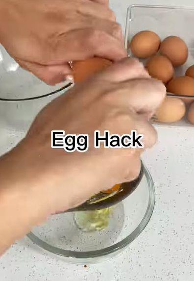 Separate egg whites and egg yolks hack
