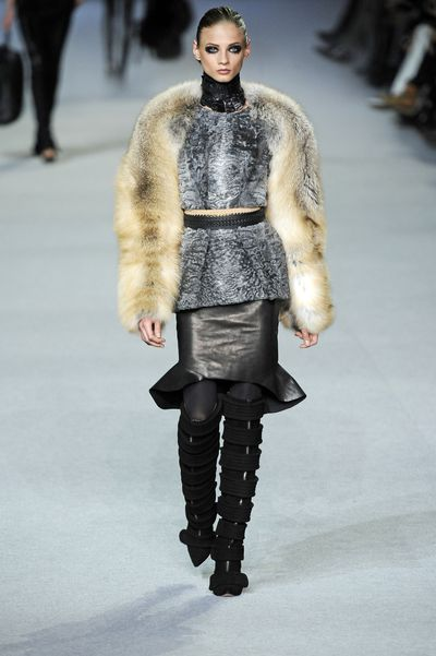 Abbey Lee Kershaw walks the runway during the Kanye West Ready-To-Wear Fall/Winter 2012 show as part of Paris Fashion Week.