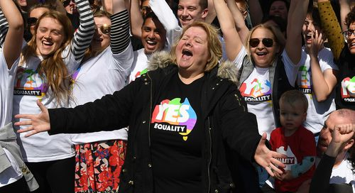 Magda Szubanski is seen at a marriage equality rally in South Melbourne in Sunday. (AAP)