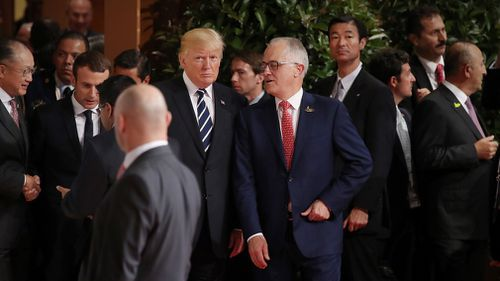 Malcolm Turnbull chats with Donald Trump during the G20 summit in Hamburg in July 2017 (AAP)