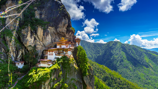 Bhutan's famous Tiger's Nest monastery, carved into the cliffs.