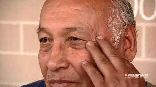 Mr Romero, 75, was hit in the face with a piece of metal, and left with a swollen eye.