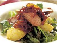 Lamb with caramelised onions and potato watercress salad