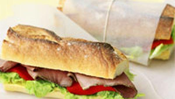 Roast beef baguette rolls