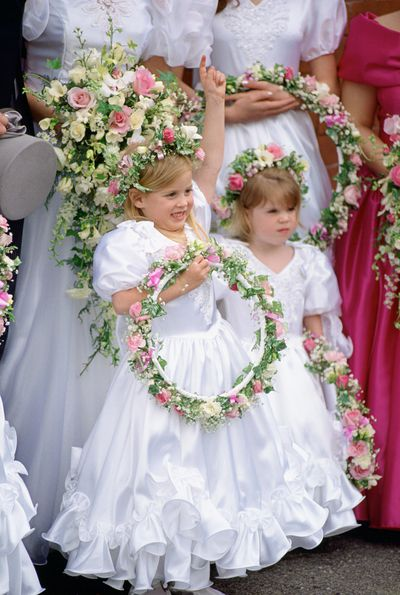 Princess Beatrice and Princess Eugenie as bridesmaids at Alison Wardley wedding, 1993.