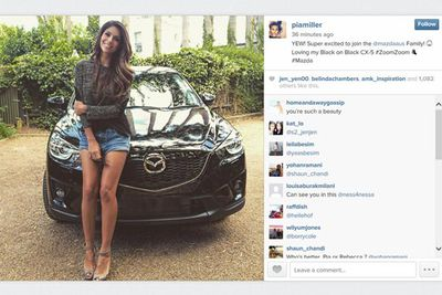 @piamiller: YEW! Super excited to join the @mazdaaus Family! Loving my Black on Black CX-5 #ZoomZoom #Mazda