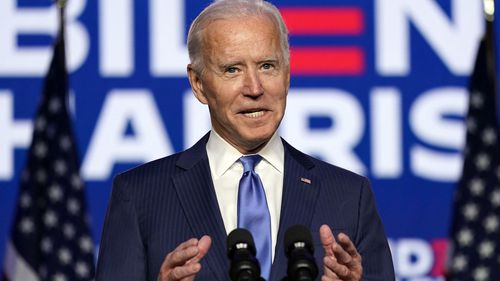 Democratic presidential candidate former Vice President Joe Biden speaks Friday, Nov. 6, 2020, in Wilmington, Delaware