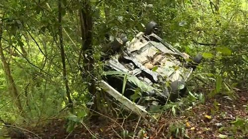 His car plunged 100 metres down the steep embankment. (9NEWS)