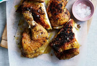 Spice rubbed chicken with pink grapepfruit and beetroot salad