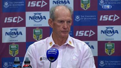 Brisbane Broncos coach Wayne Bennett takes aim at media after NRL win against North Queensland Cowboys