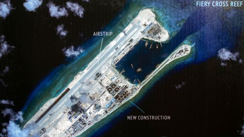 A photograph showing an island that China is building on the Fiery Cross Reef in the South China Sea. (Photo: AP).