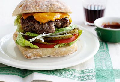 Beef burger with cheddar and pickles