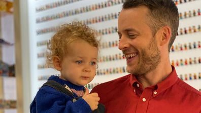 Hamish Blake and daughter Rudy on set of Lego Masters