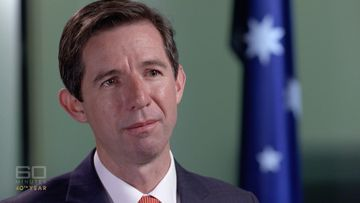 Education Minister Simon Birmingham has long been a staunch defender of the controversial NAPLAN tests but admitted to reporter Tom Steinfort the Australian education system needs to change. Picture: 60 Minutes