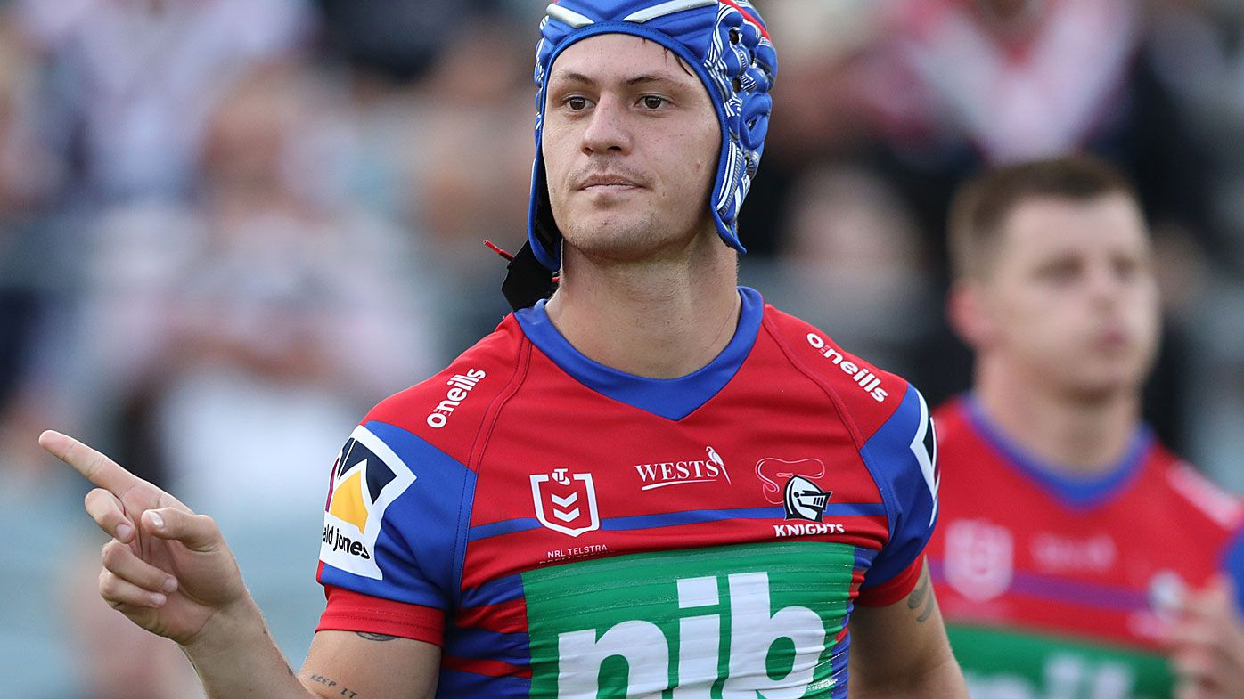 Kalyn Ponga of the Knights runs out at the start of the game