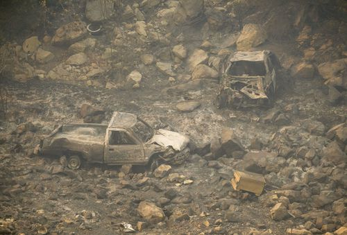 Burned-out vehicles are too numerous to count in Malibu.