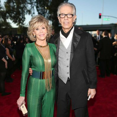 Jane Fonda and Richard Perry at the Grammy Awards in 2015.