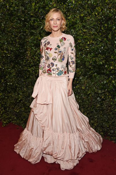 Cate Blanchett in Alexander McQueen at the London Evening Standard Theatre Awards.