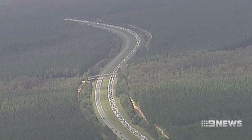The Bruce Highway is notorious for traffic snarls after crashes. (9NEWS)