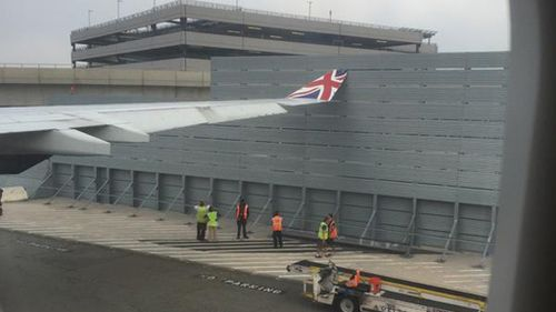 A Virgin Atlantic flight bound for London has hit an airport fence shortly before take-off. (Twitter: @hschleckr)