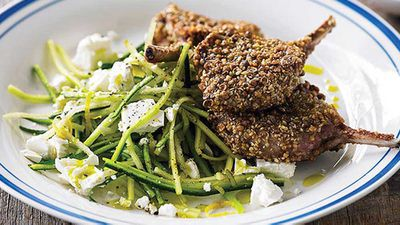 "Recipe:&nbsp;<a href=""http://kitchen.nine.com.au/2016/05/05/15/02/dukkah-lamb-chops-with-zucchini-and-pear-salad"" target=""_top"">Dukkah lamb chops with zucchini and pear salad</a>"