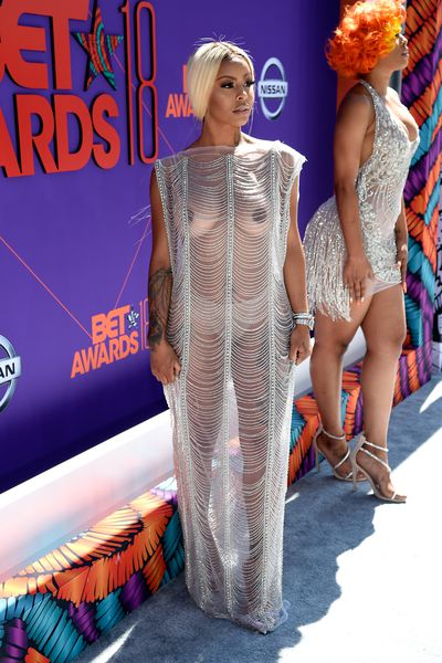 Reality TV star Alexis Skyy in Grayling Purnellat the 2018 BET Awards