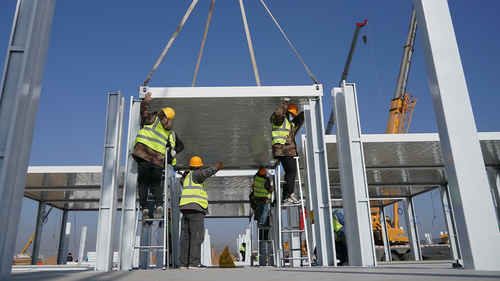 Workers building the quarantine center in Shijiazhuang, Hebei province, China, on January 18.