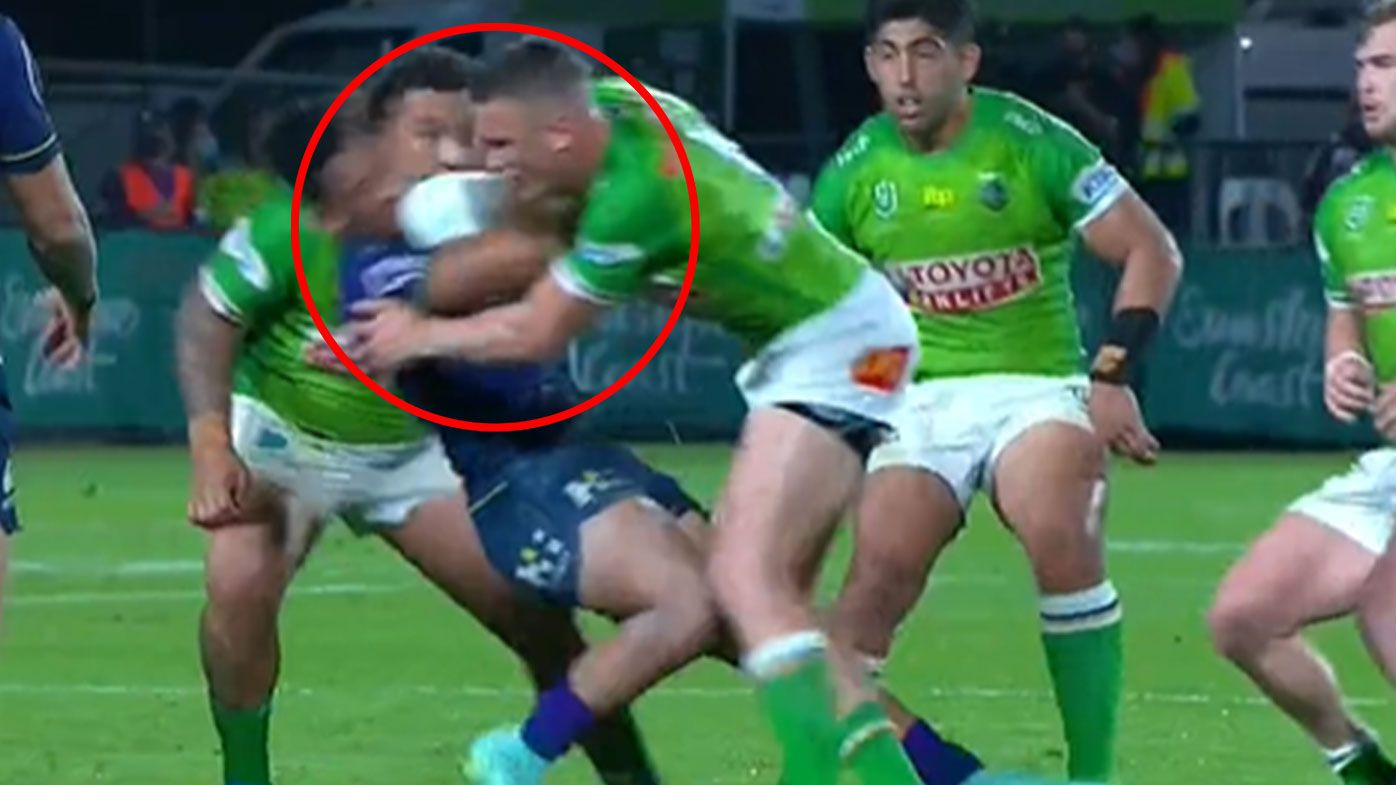 Canberra Raiders star Jack Wighton puts in 'Tackle of the Year' contender with monster hit