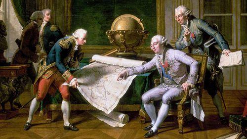 Jean François de Galaup, comte de Lapérouse is given his orders by Louis XVI in an 1817 painting. (Nicolas-André Monsiau)