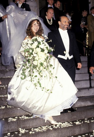 Mariah Carey and Tommy Mottola on their wedding day in 1993.