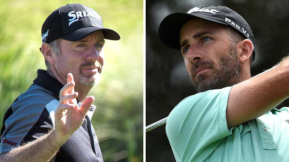 Australian golfers Rod Pampling and Geoff Ogilvy. (AAP)