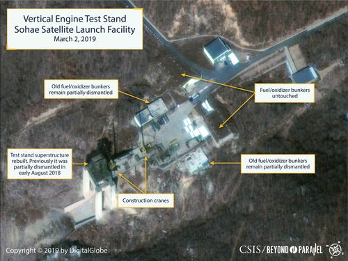 News World North Korea nuclear missile rebuilding test launch pad facility site satellite images