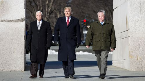 Trump was accompanied by Vice President Mike Pence as they lay a wreath at the site