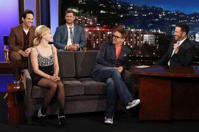 Robert Downey Jr., Scarlett Johansson, Paul Rudd and Chris Hemsworth on the Jimmy Kimmel Live! show.