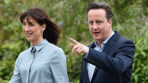 David Cameron and his wife Samantha after voting. (AAP)