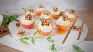 Summer stonefruit apricots with gorgonzola, toasted walnuts, honey and tarragon