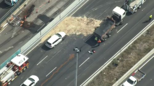 Diesel spilled onto the freeway as a result of the crash.