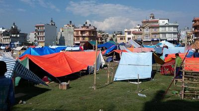 Demoralised earthquake victims have taken to living in tents out of fear of aftershocks. (Twitter: GhmirePrashant)