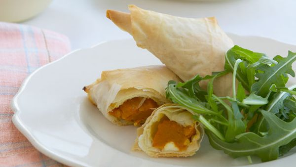 Pumpkin and fetta filo triangles