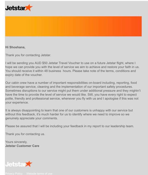 Jetstar issued Ms Strykert an apology letter suggesting staff may have been under additional pressure, which she shared online.
